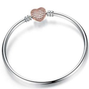 Silver Rose Gold Heart Bracelet